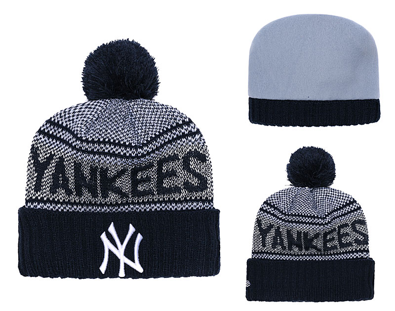 Yankees Fresh Logo Navy Pom Knit Hat YD