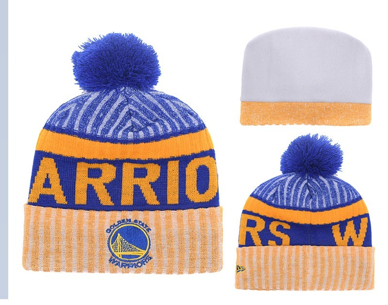Warriors Fresh Logo Royal Yellow Pom Knit Hat YD
