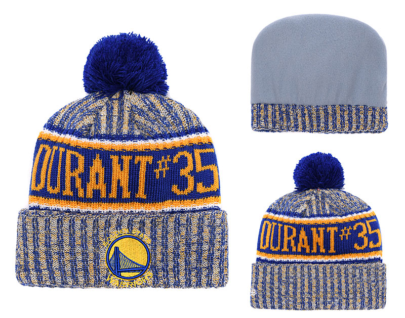 Warriors Fresh Logo Royal Yellow With Pom Knit Hat YD