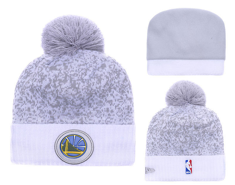 Warriors Fresh Logo White Gray Pom Knit Hat YD