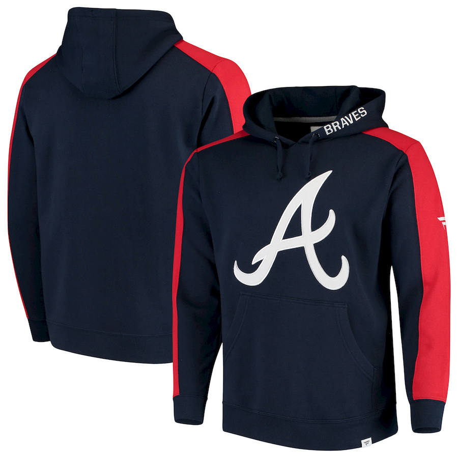 Atlanta Braves Fanatics Branded Iconic Fleece Pullover Hoodie Navy & Red