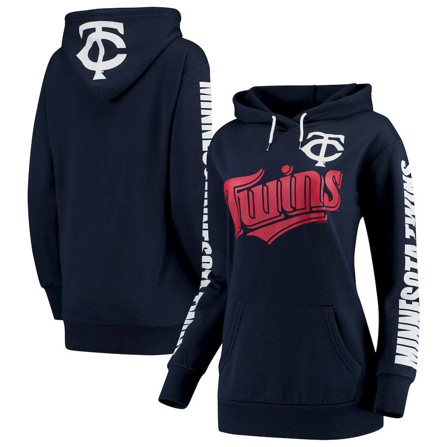 Minnesota Twins G III 4Her by Carl Banks Women's Extra Innings Pullover Hoodie Navy