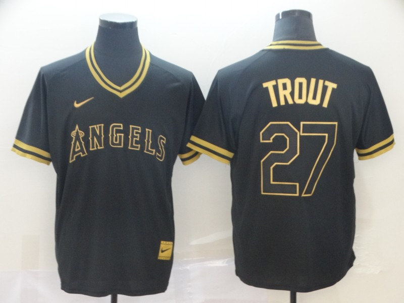Angels 27 Mike Trout Black Gold Nike Cooperstown Collection Legend V Neck Jersey
