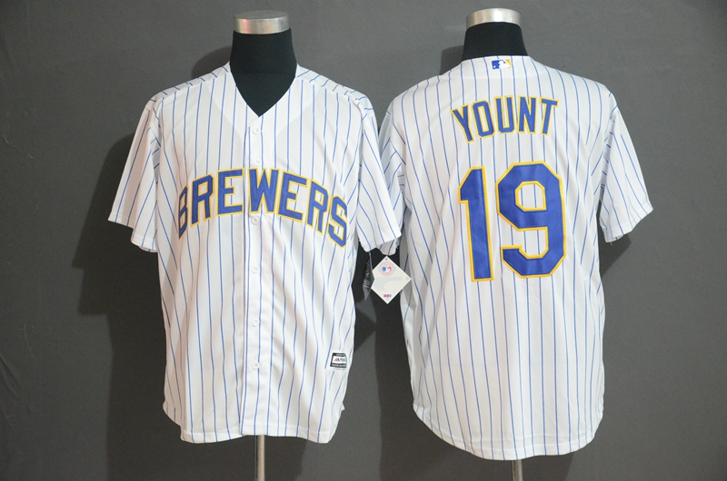 Brewers 19 Robin Yount White Cool Base Jersey