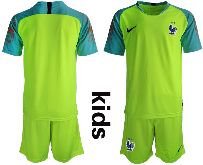 2019-20 France Fluorescent Green Youth Goalkeeper Soccer Jersey