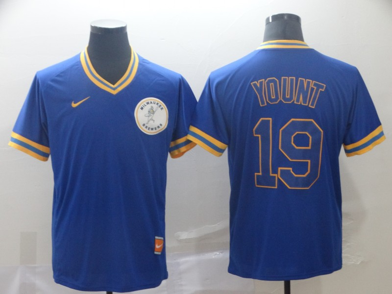 Brewers 19 Robin Yount Royal Throwback Jersey