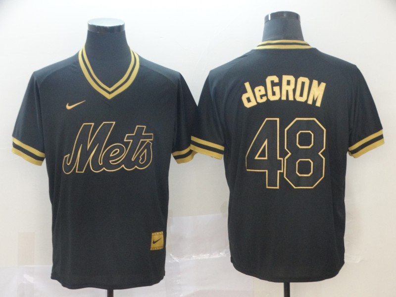 Mets 48 Jacob deGrom Black Gold Nike Cooperstown Collection Legend V Neck Jersey