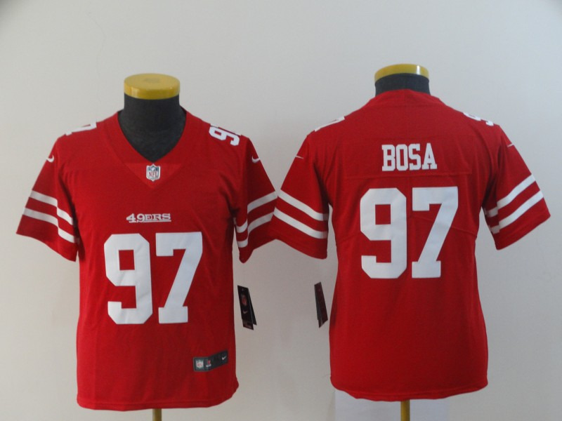 Nike 49ers 97 Nick Bosa Scarlet Youth 2019 NFL Draft First Round Pick Vapor Untouchable Limited Jersey