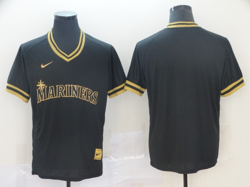Mariners Blank Black Gold Nike Cooperstown Collection Legend V Neck Jersey