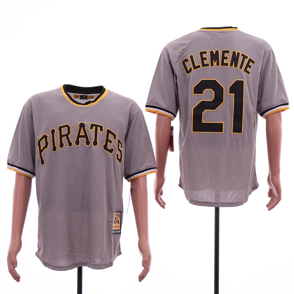 Pirates 21 Roberto Clemente Gray Cooperstown Collection Jersey