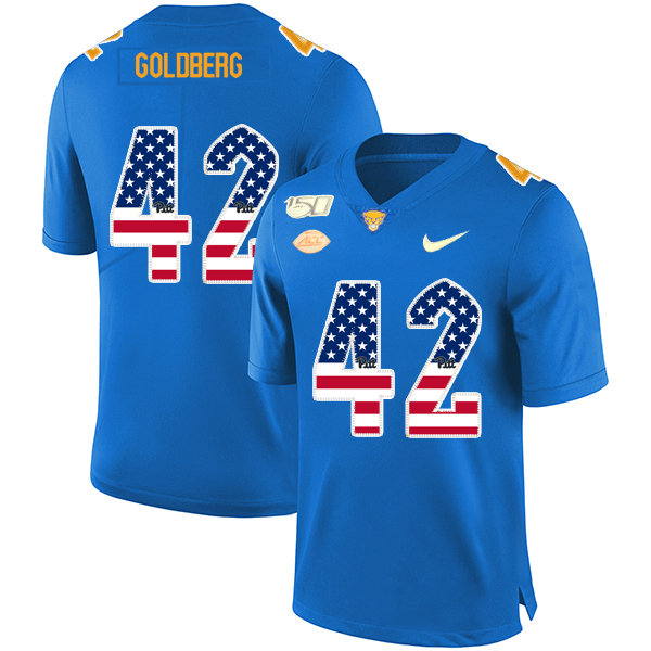Pittsburgh Panthers 42 Marshall Goldberg Blue USA Flag 150th Anniversary Patch Nike College Football Jersey