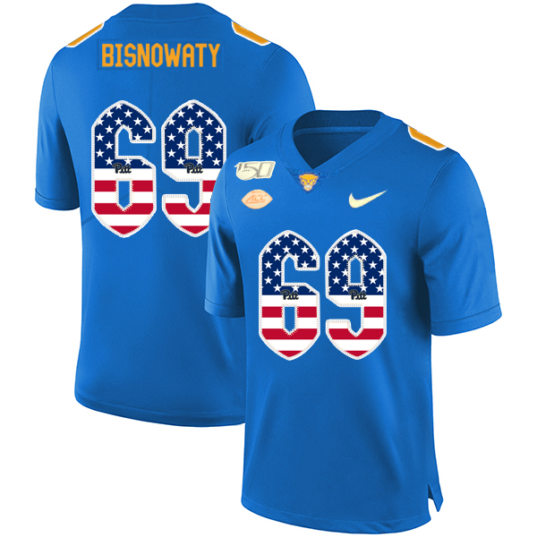 Pittsburgh Panthers 69 Adam Bisnowaty Blue USA Flag 150th Anniversary Patch Nike College Football Jersey