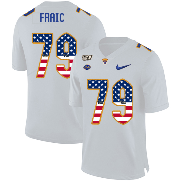 Pittsburgh Panthers 79 Bill Fralic White USA Flag 150th Anniversary Patch Nike College Football Jersey