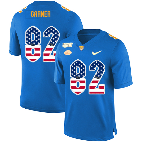 Pittsburgh Panthers 82 Manasseh Garner Blue USA Flag 150th Anniversary Patch Nike College Football Jersey