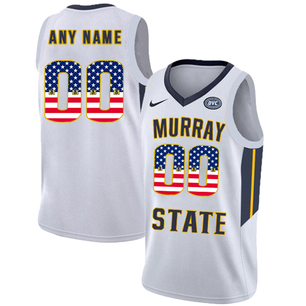 Murray State Racers Customized White USA Flag College Basketball Jersey