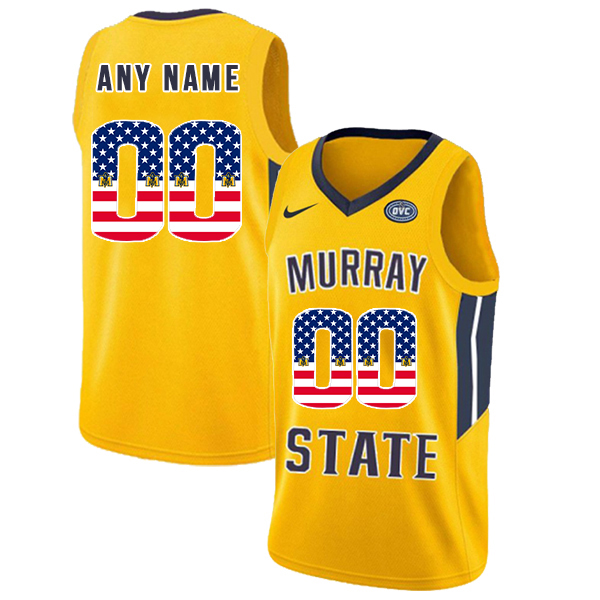 Murray State Racers Customized Yellow USA Flag College Basketball Jersey