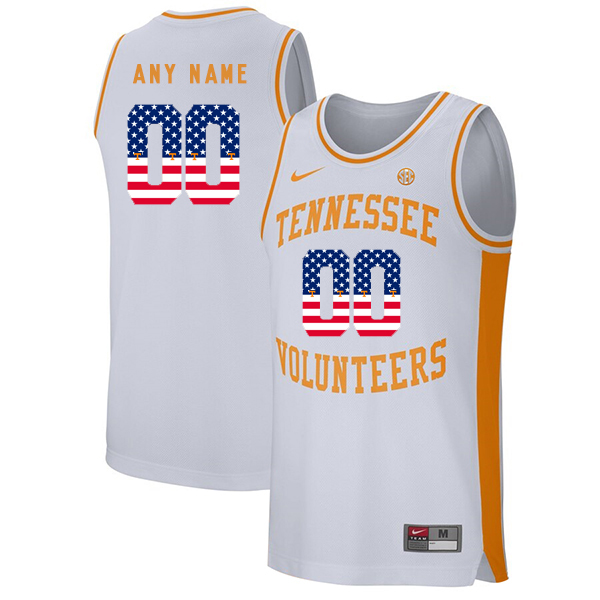 Tennessee Volunteers Customized White USA Flag College Basketball Jersey