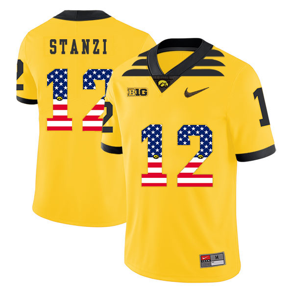 Iowa Hawkeyes 12 Ricky Stanzi Yellow USA Flag College Football Jersey