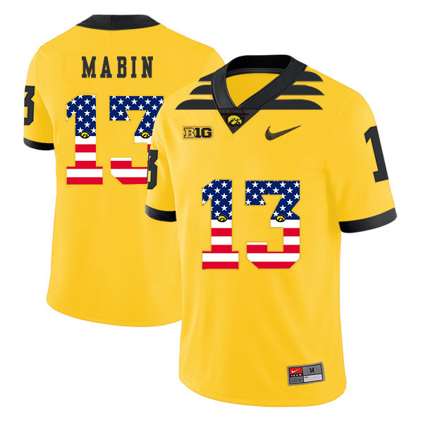 Iowa Hawkeyes 13 Henry Mabin Yellow USA Flag College Football Jersey