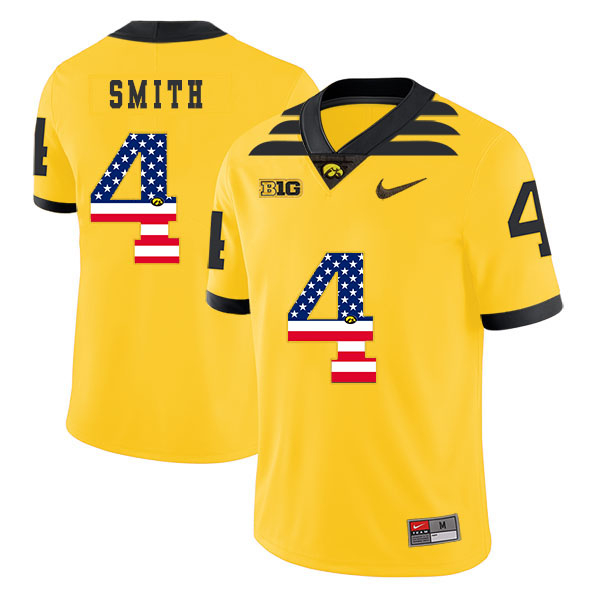 Iowa Hawkeyes 4 Tevaun Smith Yellow USA Flag College Football Jersey