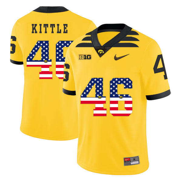 Iowa Hawkeyes 46 George Kittle Yellow USA Flag College Football Jersey