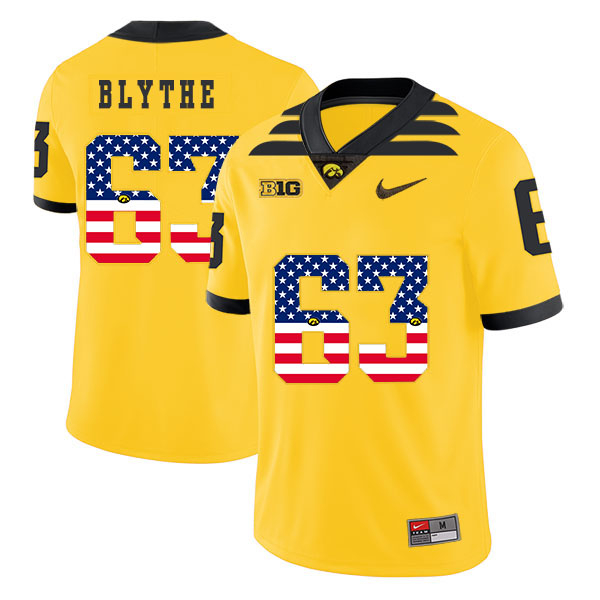 Iowa Hawkeyes 63 Austin Blythe Yellow USA Flag College Football Jersey