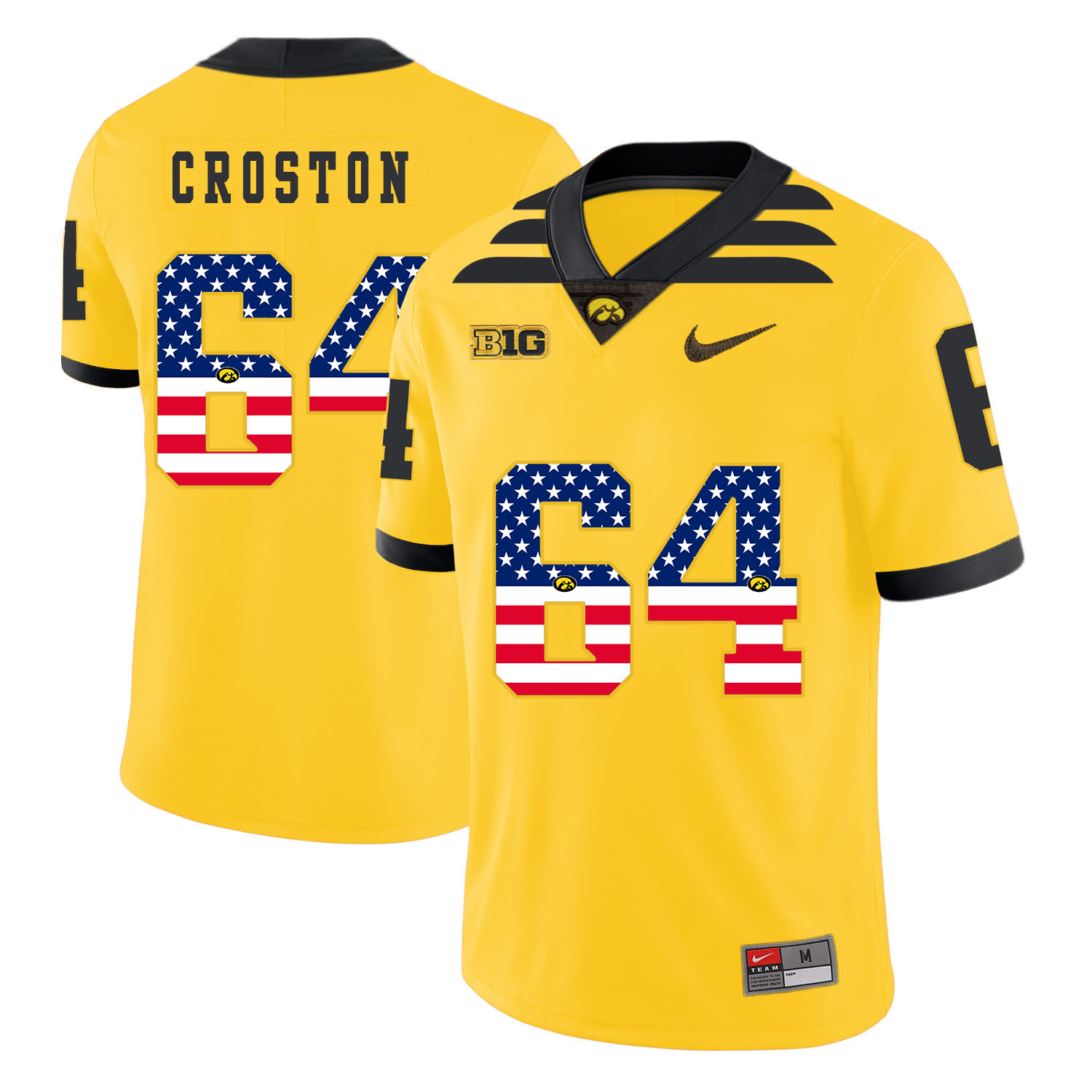 Iowa Hawkeyes 64 Cole Croston Yellow USA Flag College Football Jersey
