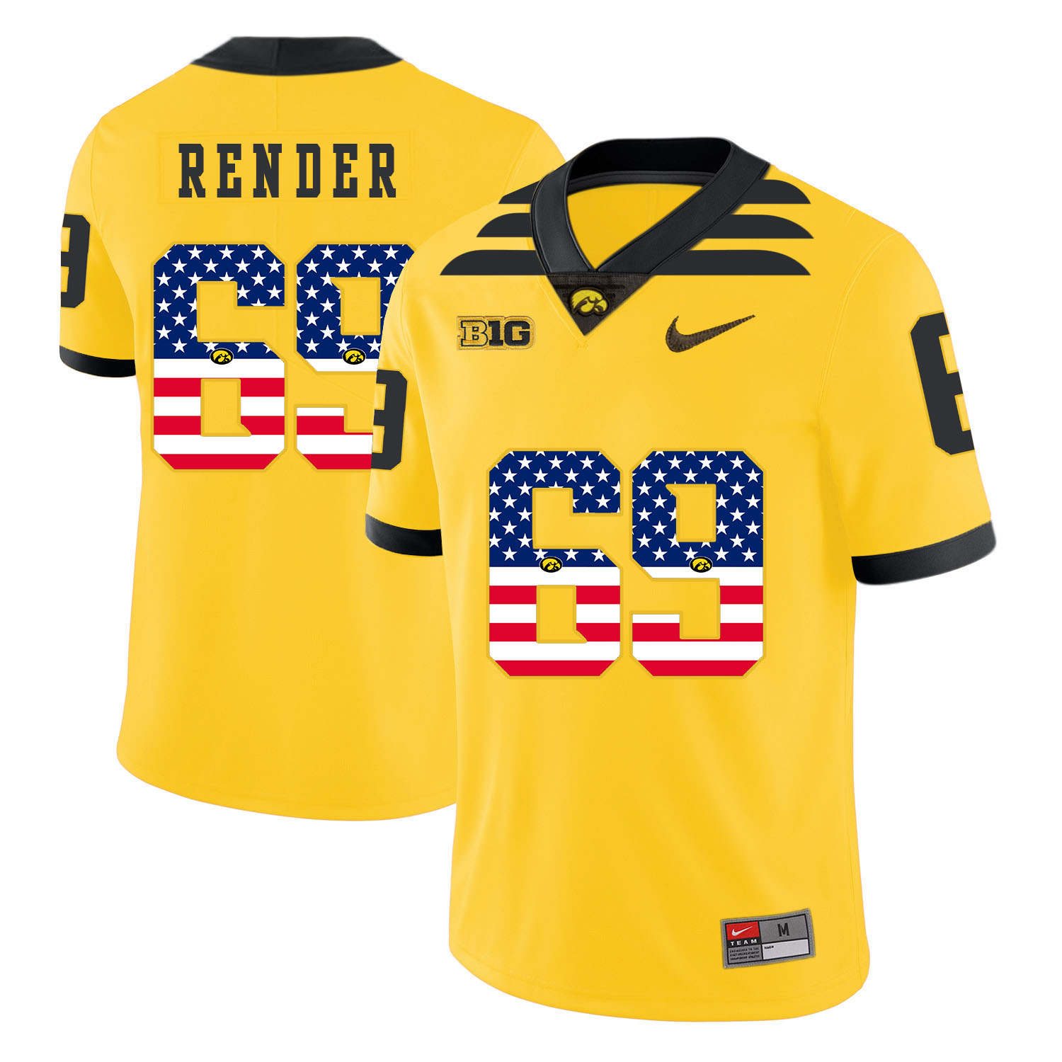Iowa Hawkeyes 69 Keegan Render Yellow USA Flag College Football Jersey