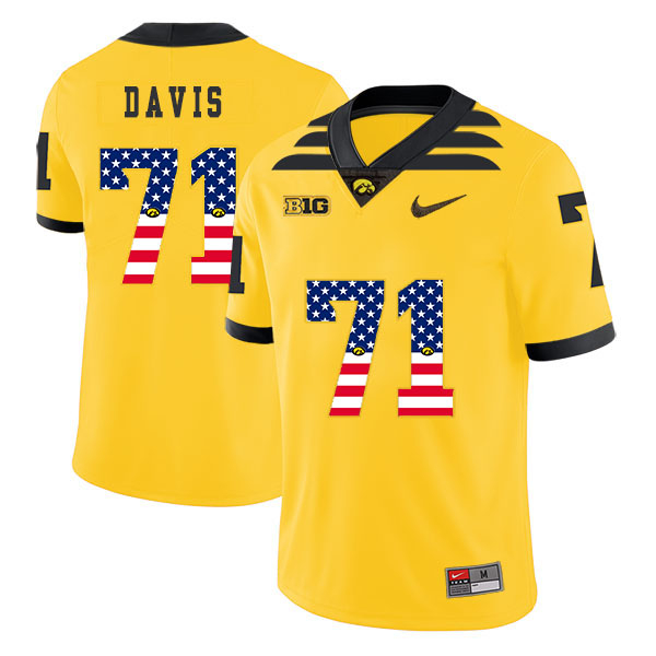 Iowa Hawkeyes 71 Carl Davis Yellow USA Flag College Football Jersey
