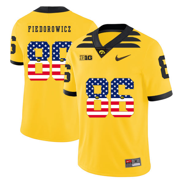 Iowa Hawkeyes 86 C.J. Fiedorowicz Yellow USA Flag College Football Jersey