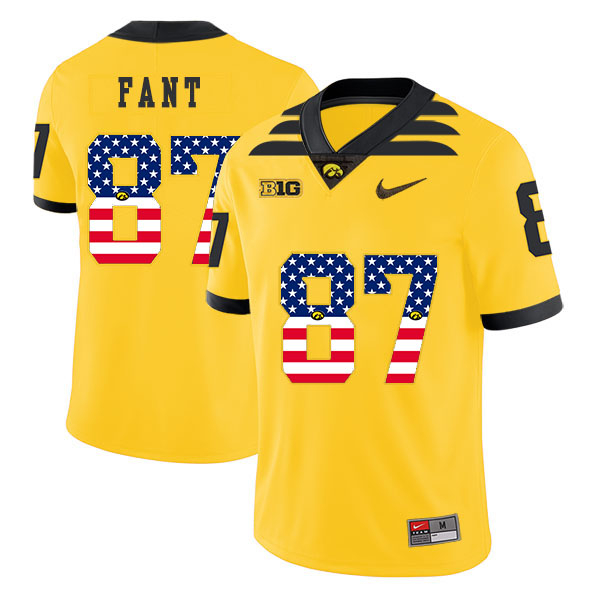 Iowa Hawkeyes 87 Noah Fant Yellow USA Flag College Football Jersey
