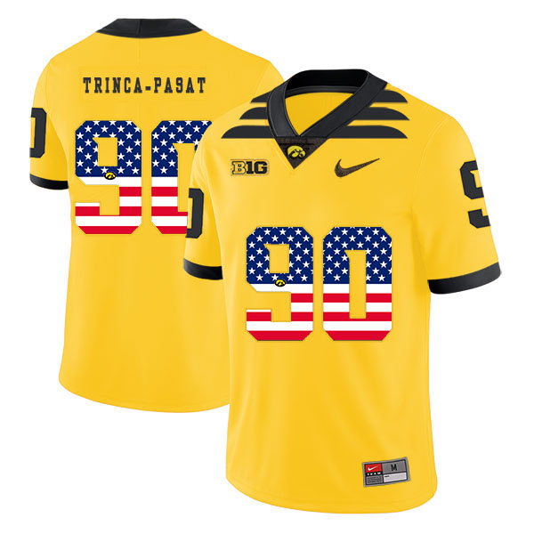 Iowa Hawkeyes 90 Louis Trinca-Pasat Yellow USA Flag College Football Jersey
