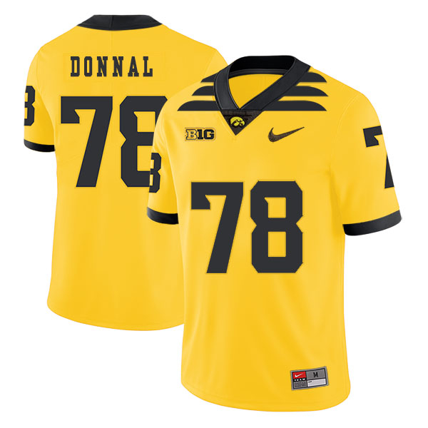 Iowa Hawkeyes 78 Andrew Donnal Yellow College Football Jersey