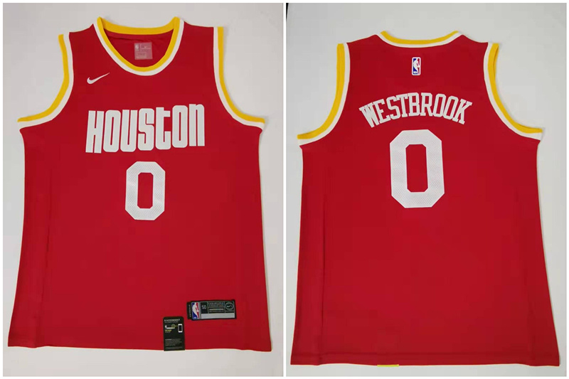 Rockets 0 Russell Westbrook Red Nike Retro Swingman Jersey
