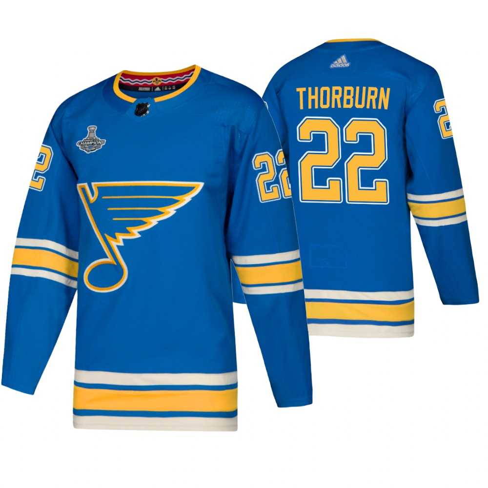 Blues 22 Chris Thorburn Blue Alternate 2019 Stanley Cup Champions Adidas Jersey