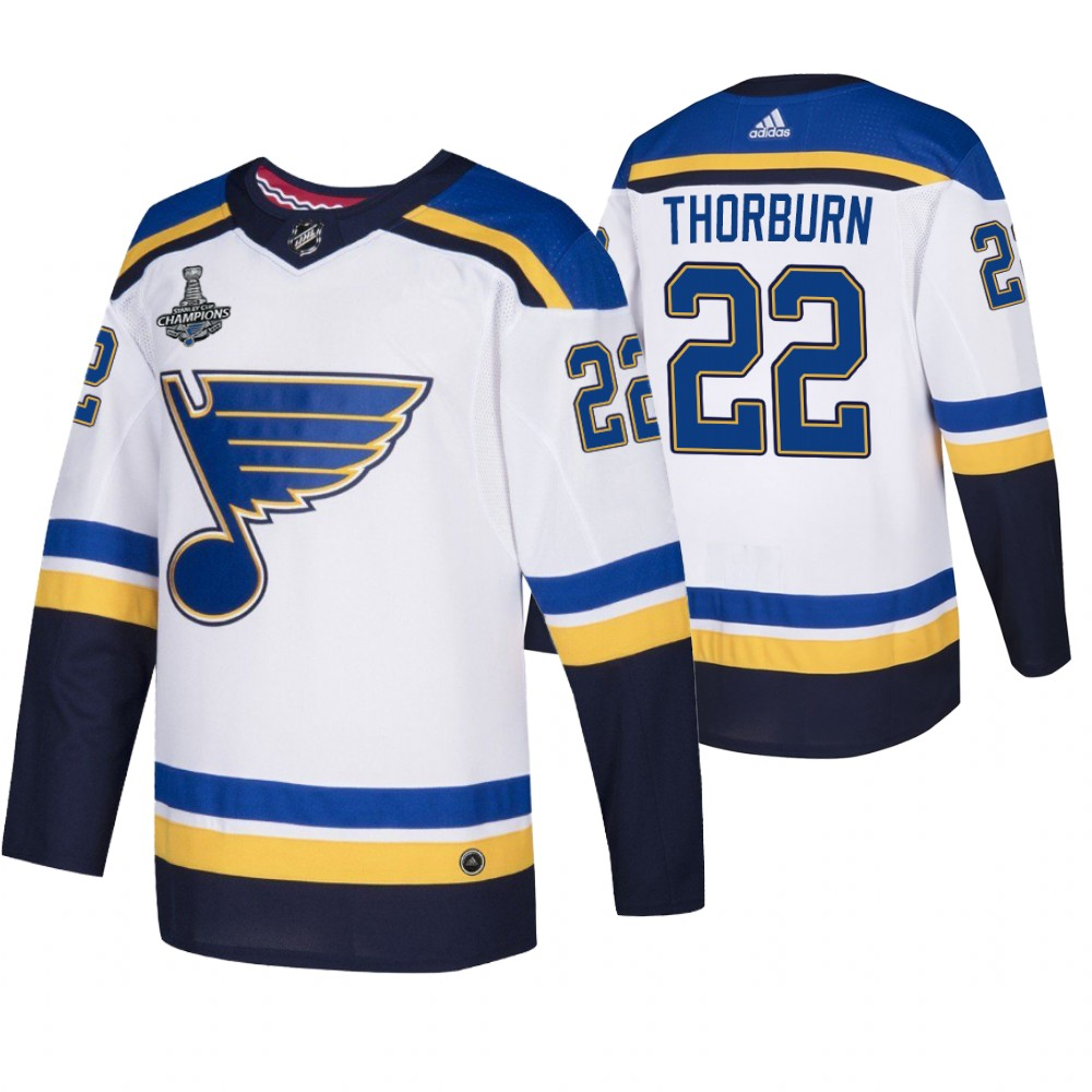 Blues 22 Chris Thorburn White 2019 Stanley Cup Champions Adidas Jersey
