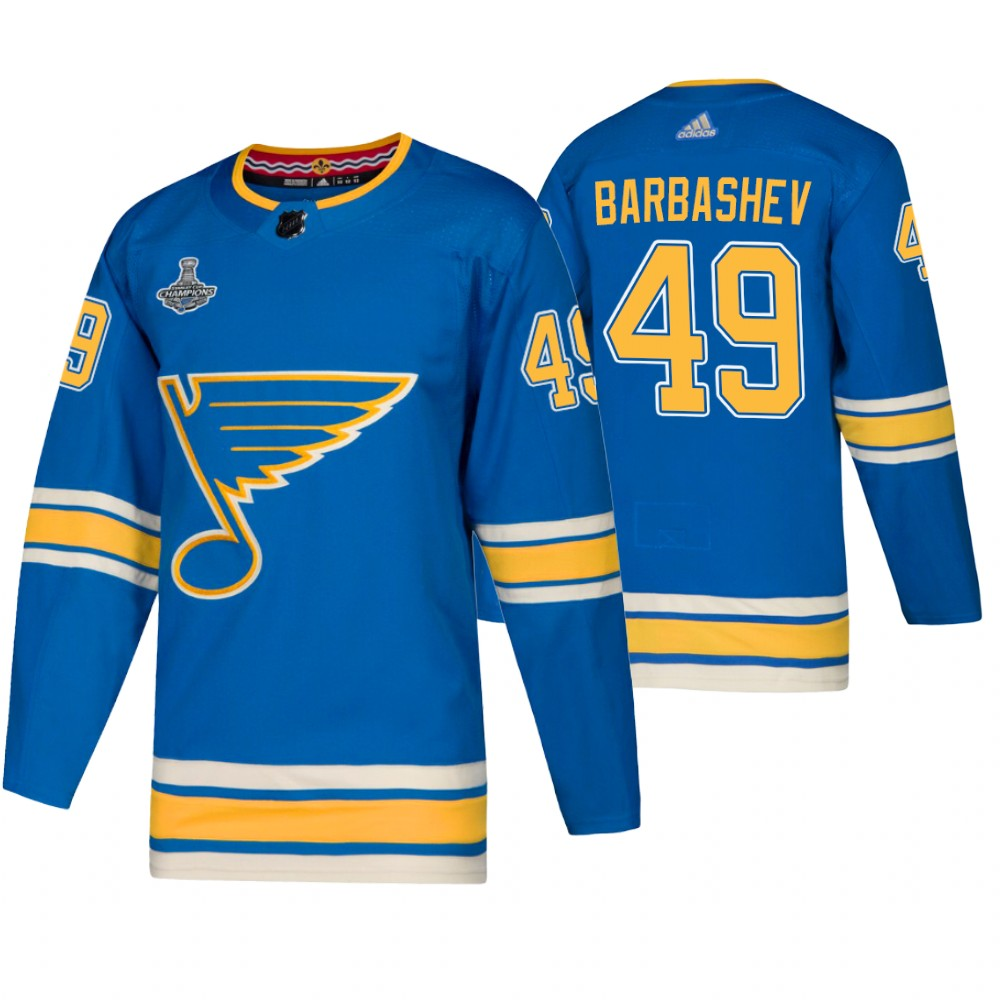 Blues 49 Ivan Barbashev Blue Alternate 2019 Stanley Cup Champions Adidas Jersey