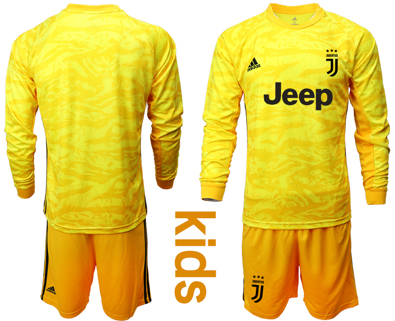 2019-20 Juventus Yellow Long Sleeve Youth Goalkeeper Soccer Jersey