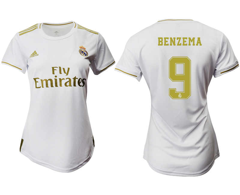 2019-20 Real Madrid 9 BENZEMA Home Women Soccer Jersey