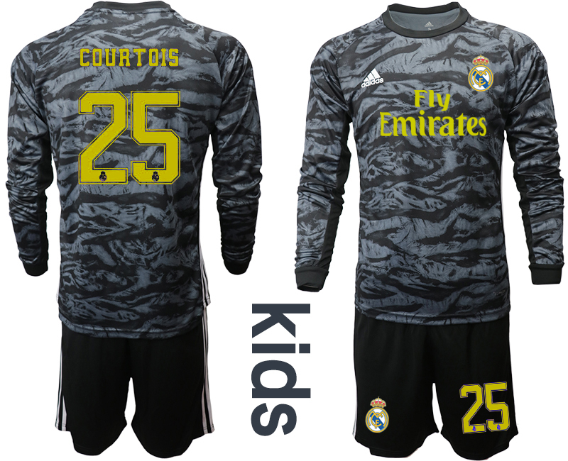 2019-20 Real Madrid 25 COURTOIS Black Long Sleeve Youth Goalkeeper Soccer Jersey