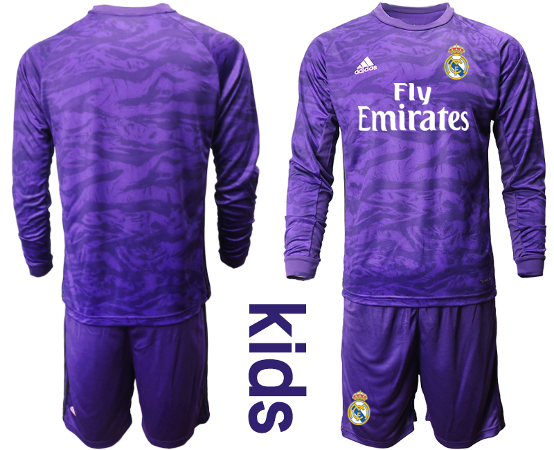 2019-20 Real Madrid Purple Long Sleeve Youth Goalkeeper Soccer Jersey
