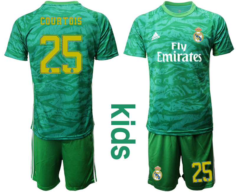 2019-20 Real Madrid 25 COURTOIS Green Youth Goalkeeper Soccer Jersey