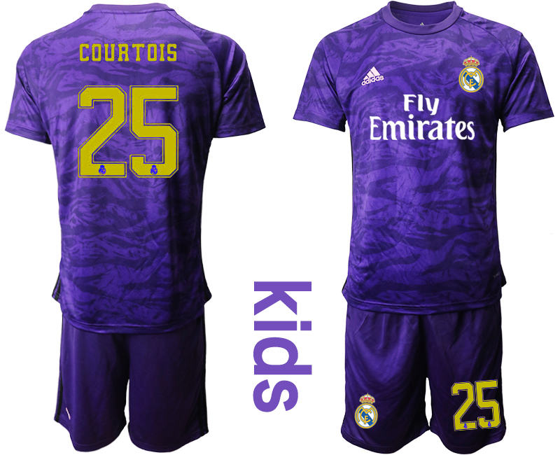 2019-20 Real Madrid 25 COURTOIS Purple Youth Goalkeeper Soccer Jersey
