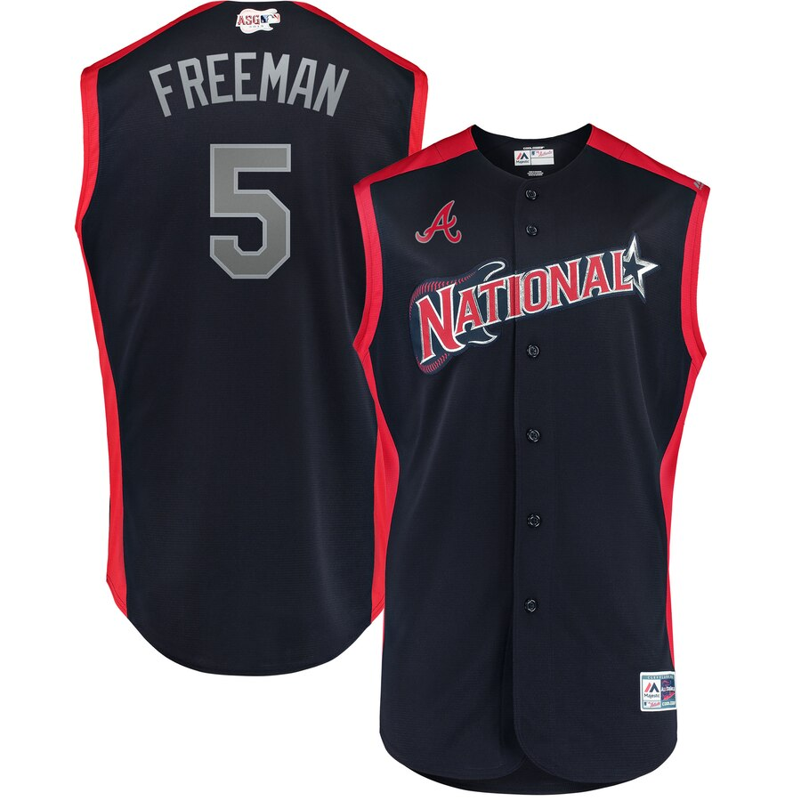 National League 5 Freddie Freeman Navy 2019 MLB All-Star Game Workout Player Jersey