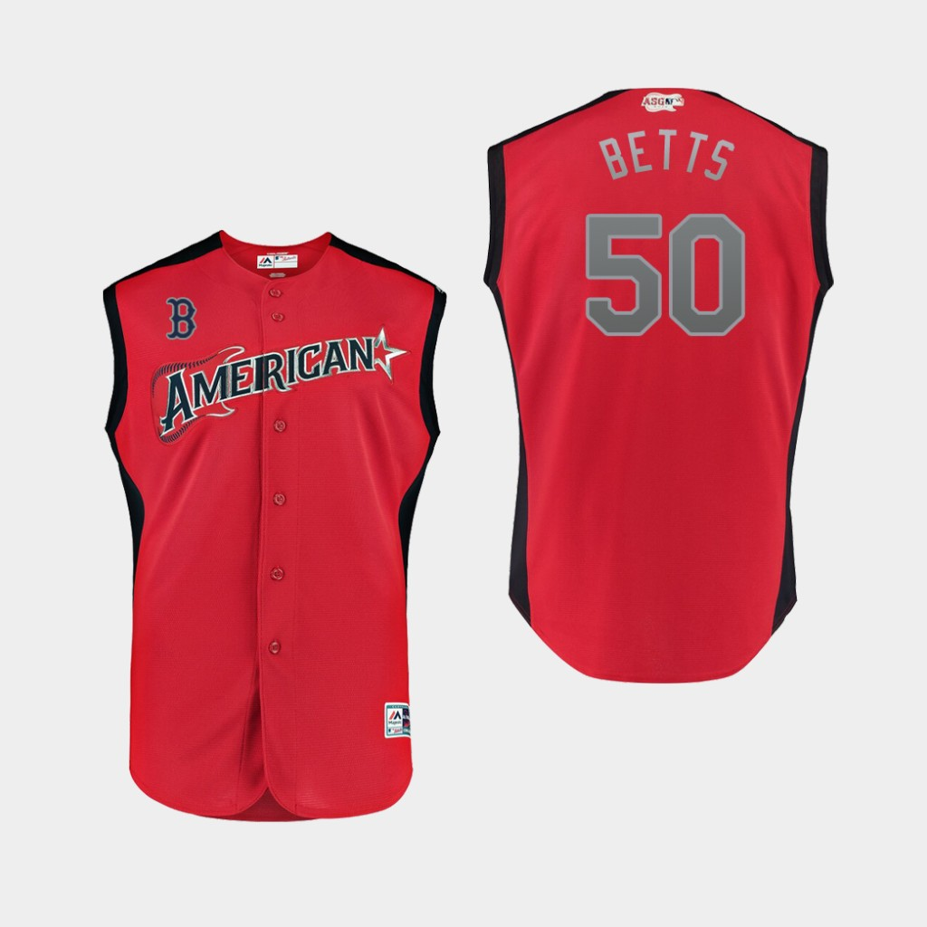 American League 50 Mookie Betts Red Youth 2019 MLB All-Star Game Workout Player Jersey