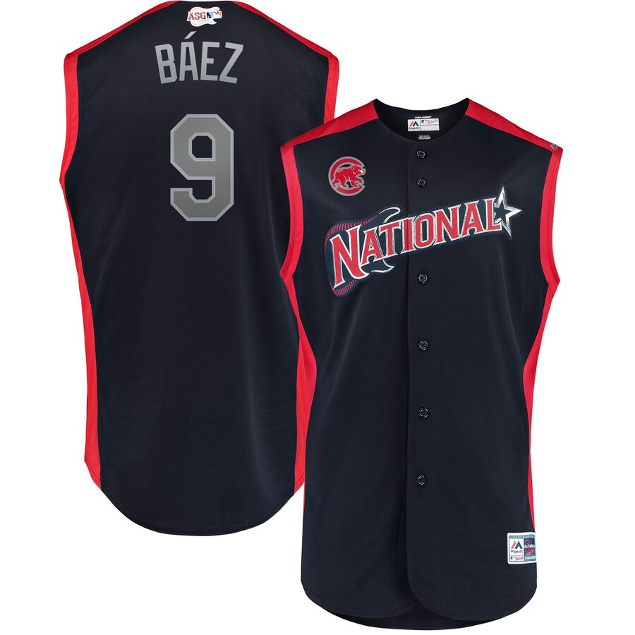 National League 9 Javier Baez Navy Youth 2019 MLB All-Star Game Workout Player Jersey