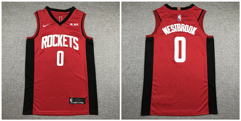 Rockets 0 Russell Westbrook Red Nike Authentic Jersey