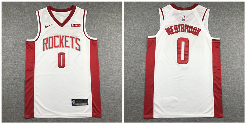 Rockets 0 Russell Westbrook White Nike Authentic Jersey
