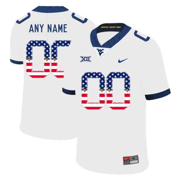 West Virginia Mountaineers Customized White USA Flag College Football Jersey