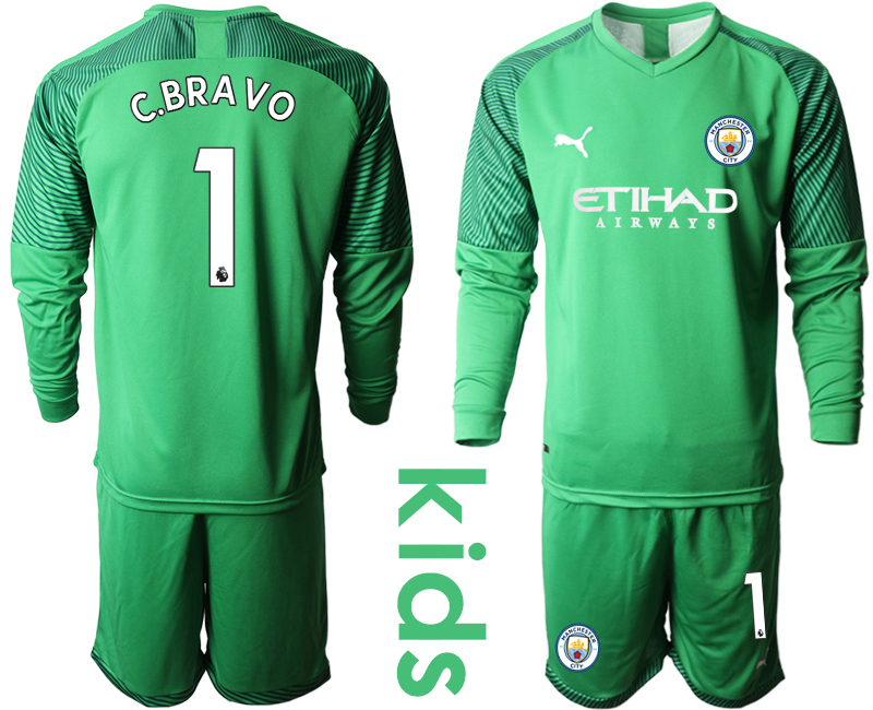 2019-20 Manchester City 1 C.BRAVO Green Goalkeeper Youth Long Sleeve Soccer Jersey